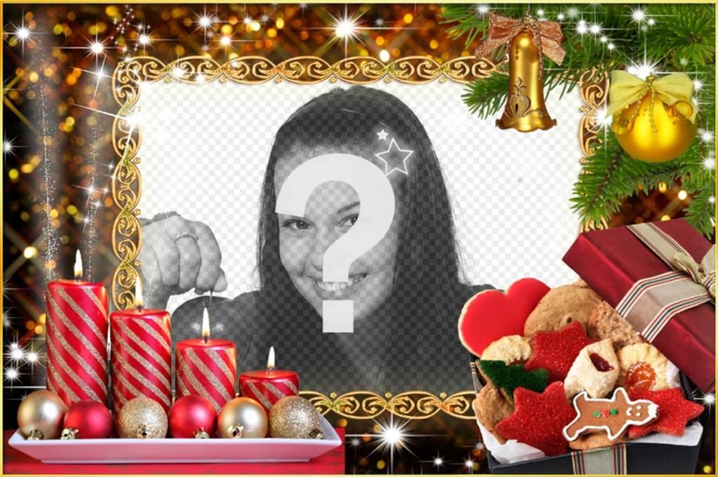 Natal moldura com quatro velas e coroas de Natal