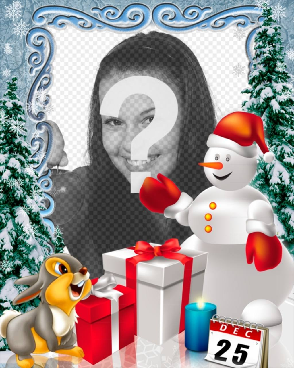 Fotomontagem dia de Natal para personalizar com foto