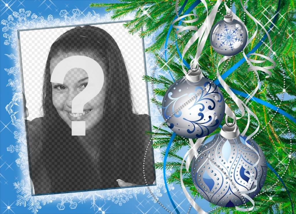 Moldura para personalizados em linha decorada com uma árvore de Natal
