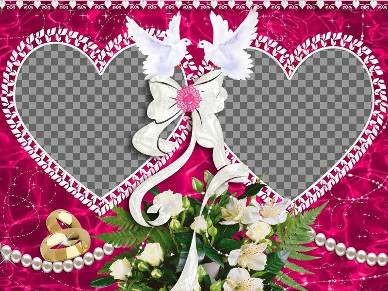 Moldura com dois corações para o Dia dos Namorados