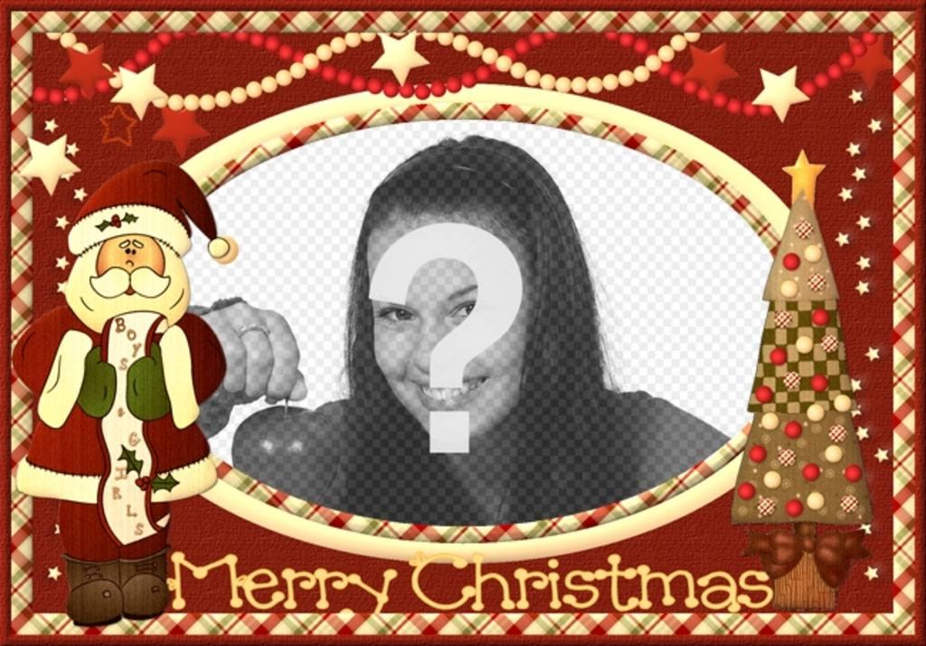 Cartão de Natal do vintage com o Papai Noel para colocar sua foto