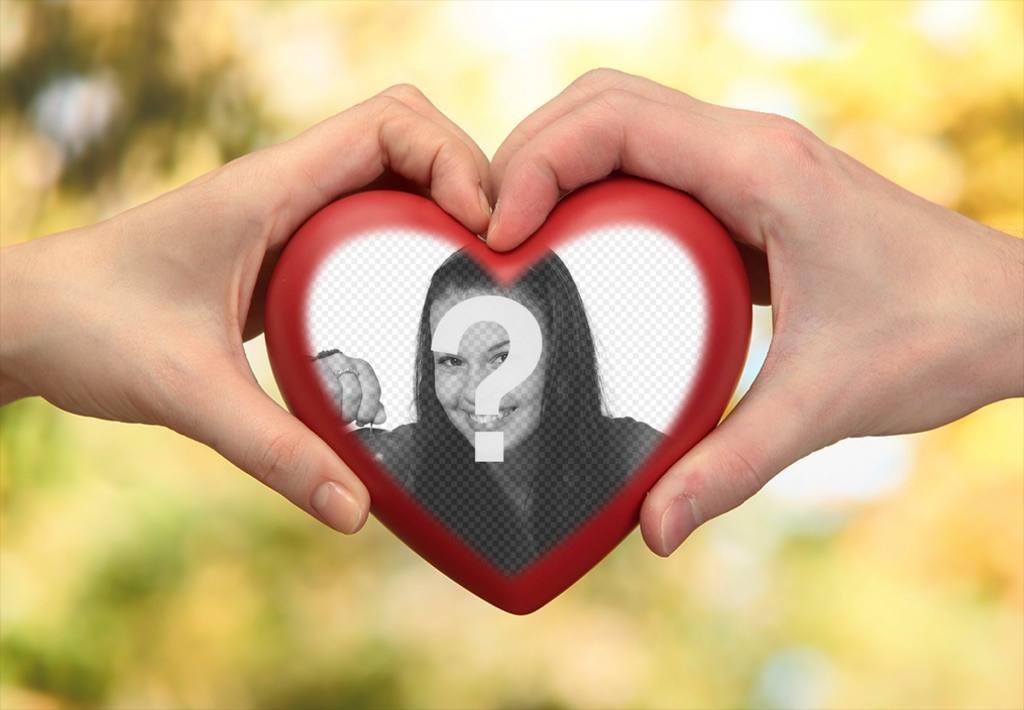Fotomontagem de duas mãos com um coração para sua foto