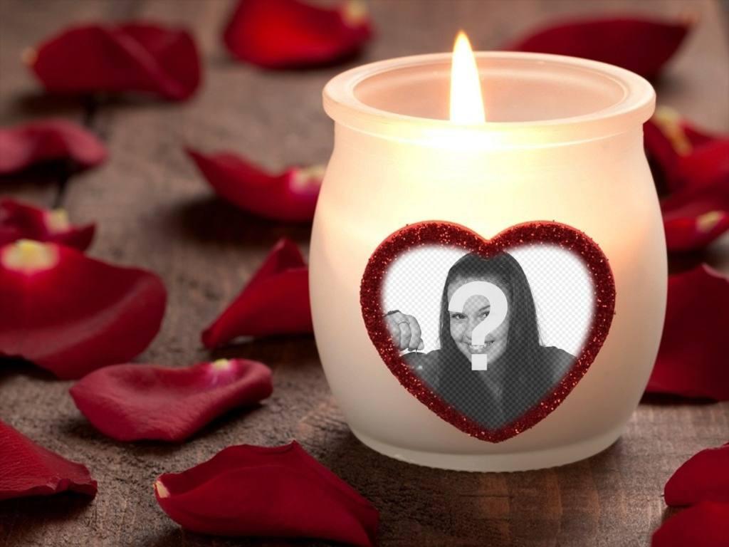 Efeito da foto do amor com uma vela e um coração
