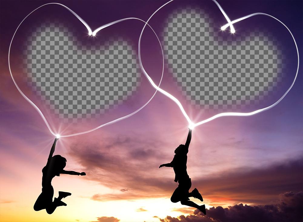 Efeito da foto do amor de colocar duas imagens