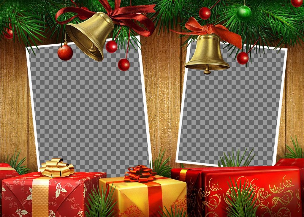 Adicione duas fotos para esta colagem de Natal com presentes