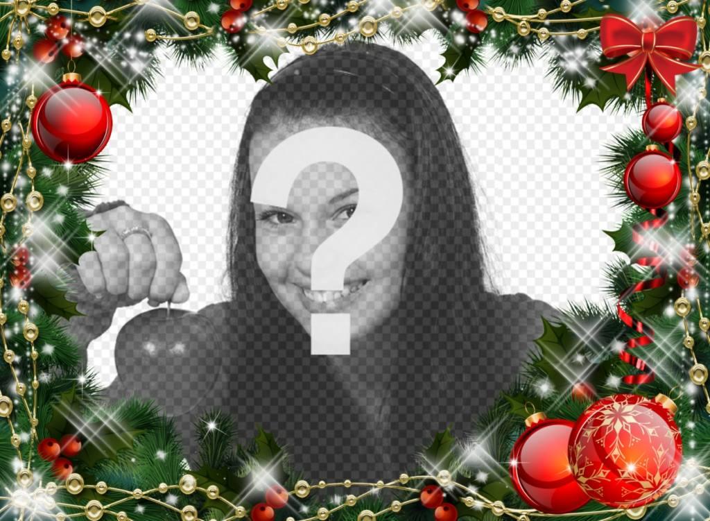 Quadro de imagem on-line de guirlanda de Natal para sua foto