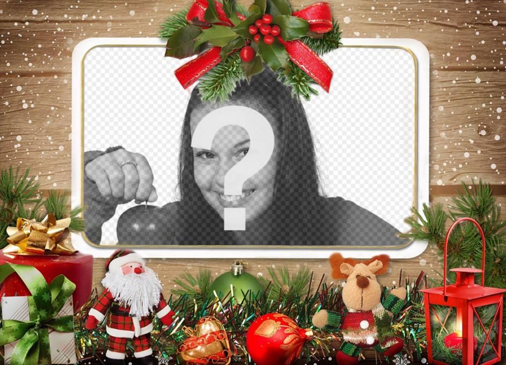 Efeito da foto com enfeites de Natal para enviar sua foto