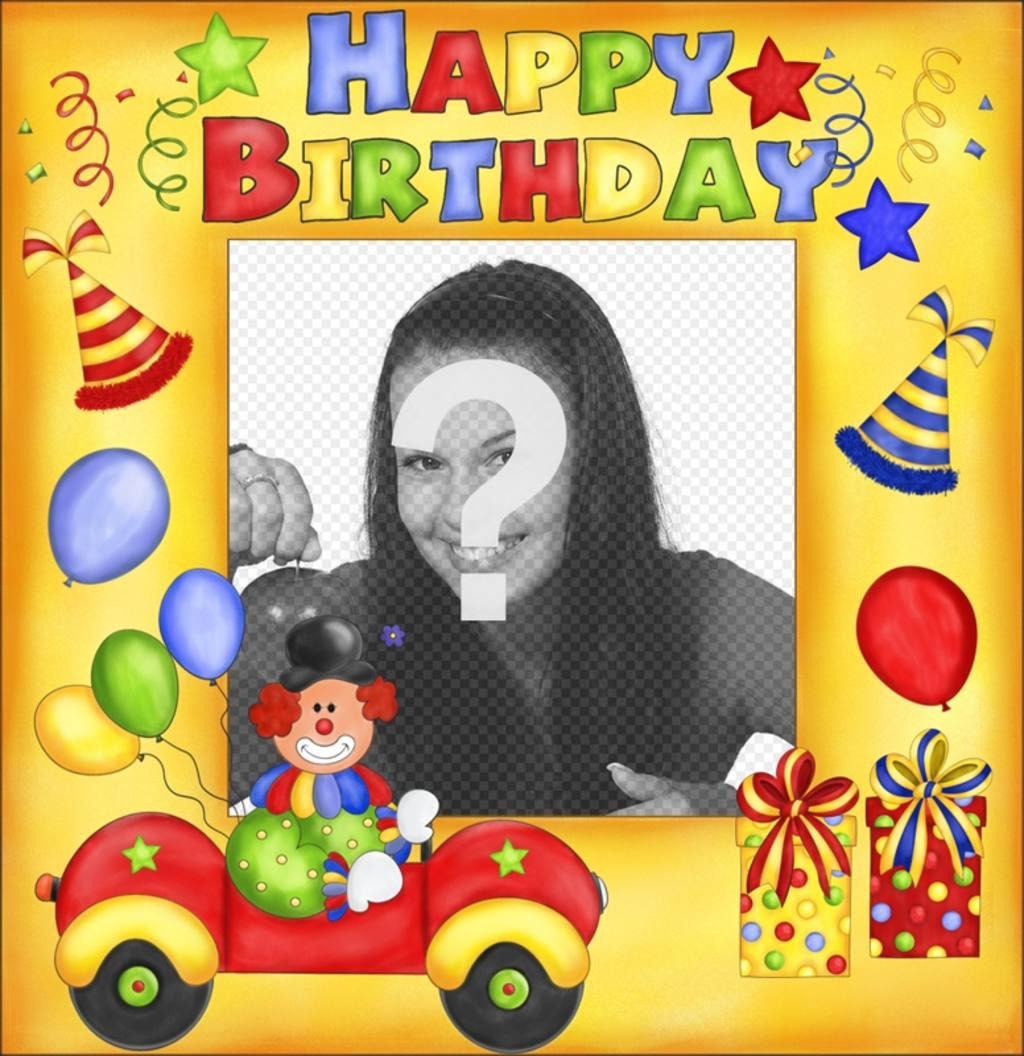 Cartão de aniversário feliz com palhaço e balões