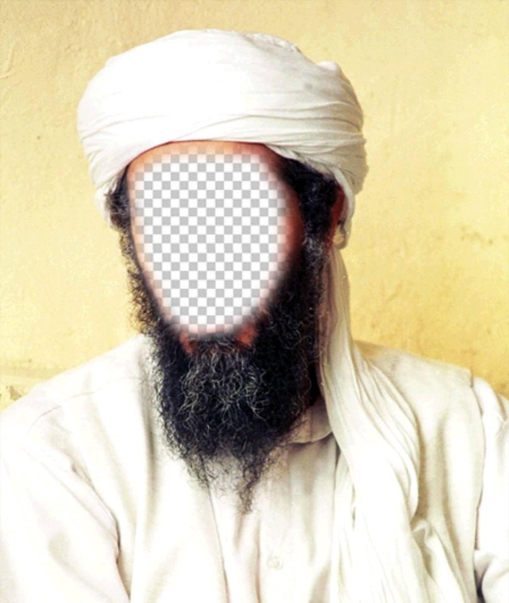 Fotomontagem de Osama Bin Laden para colocar seu rosto em seu disfarce face