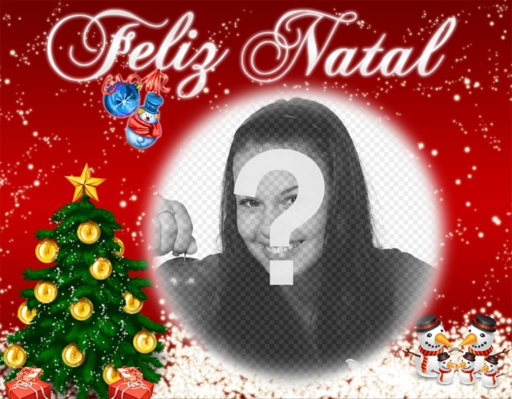 Cartão para desejar um Feliz Natal personalizado com uma foto on-line efeito da foto editável