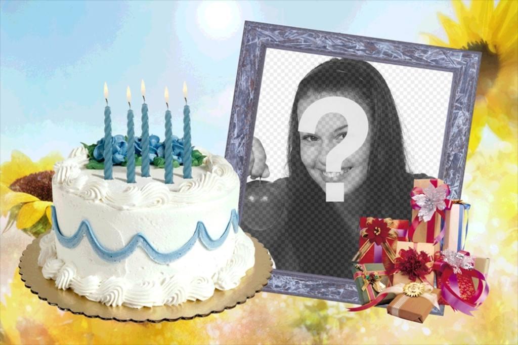 Moldura com bolo e presentes de aniversário