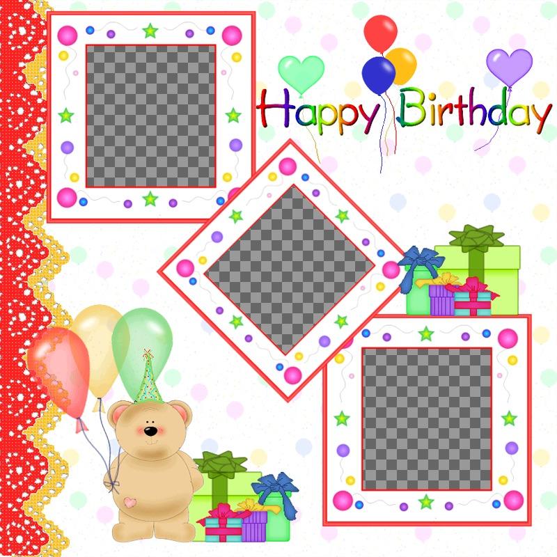 Cartão postal / cartão de aniversário para 3 fotos com balões e presentes ursinho de pelúcia