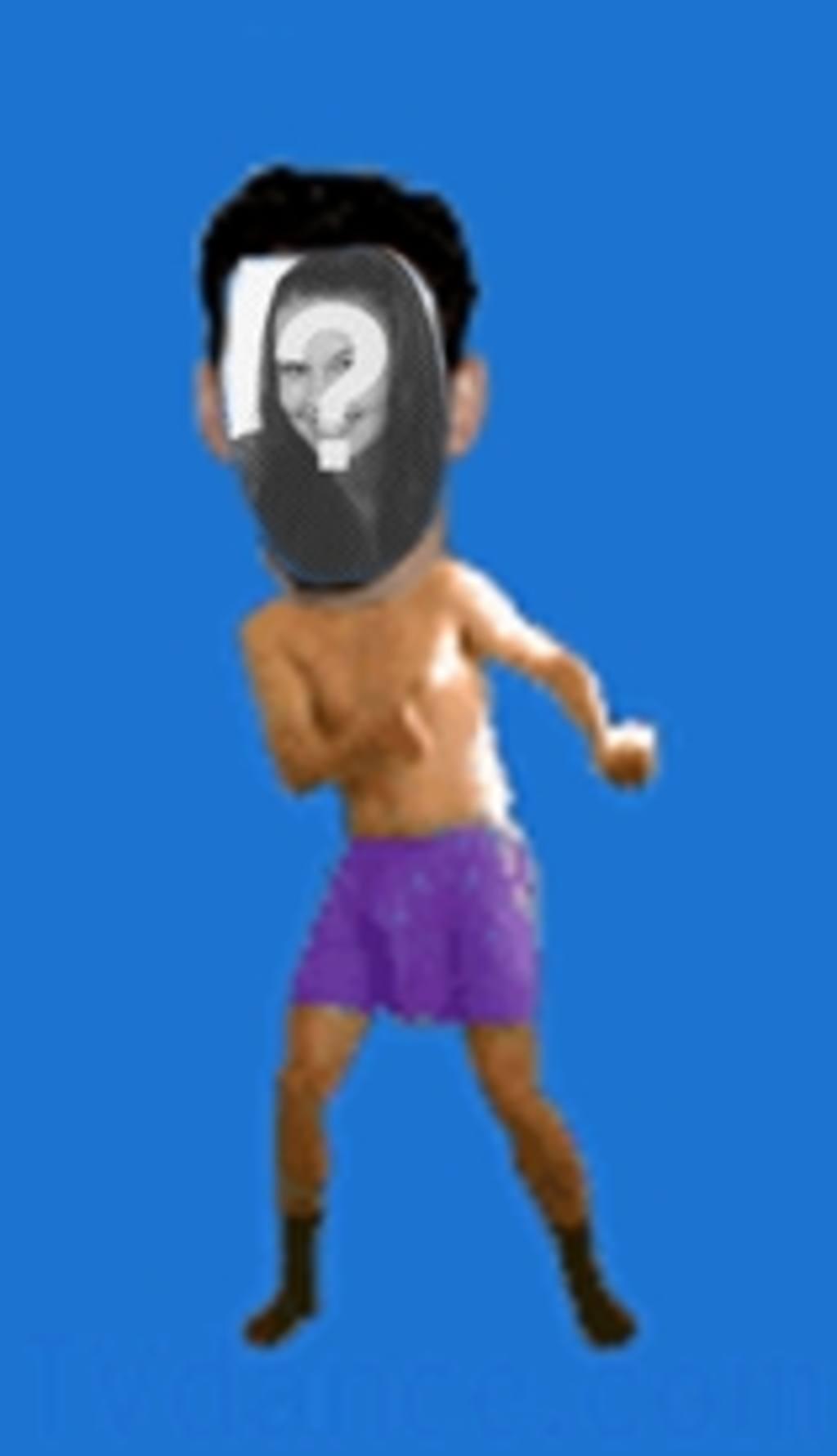 Animação de um homem de cueca dançando a dança na qual deseja inserir o rosto de sua escolha