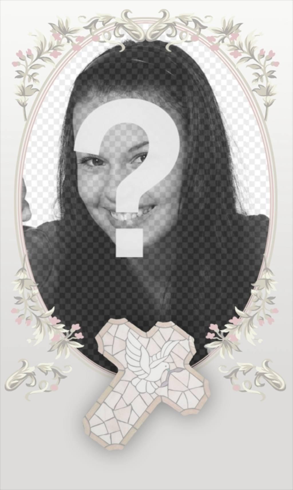 Lembrança da Primeira Comunhão cartão com foto e texto. Ele consiste em um oval floral, as cores cruzadas e macia onde colocar uma imagem e as palavras de sua escolha