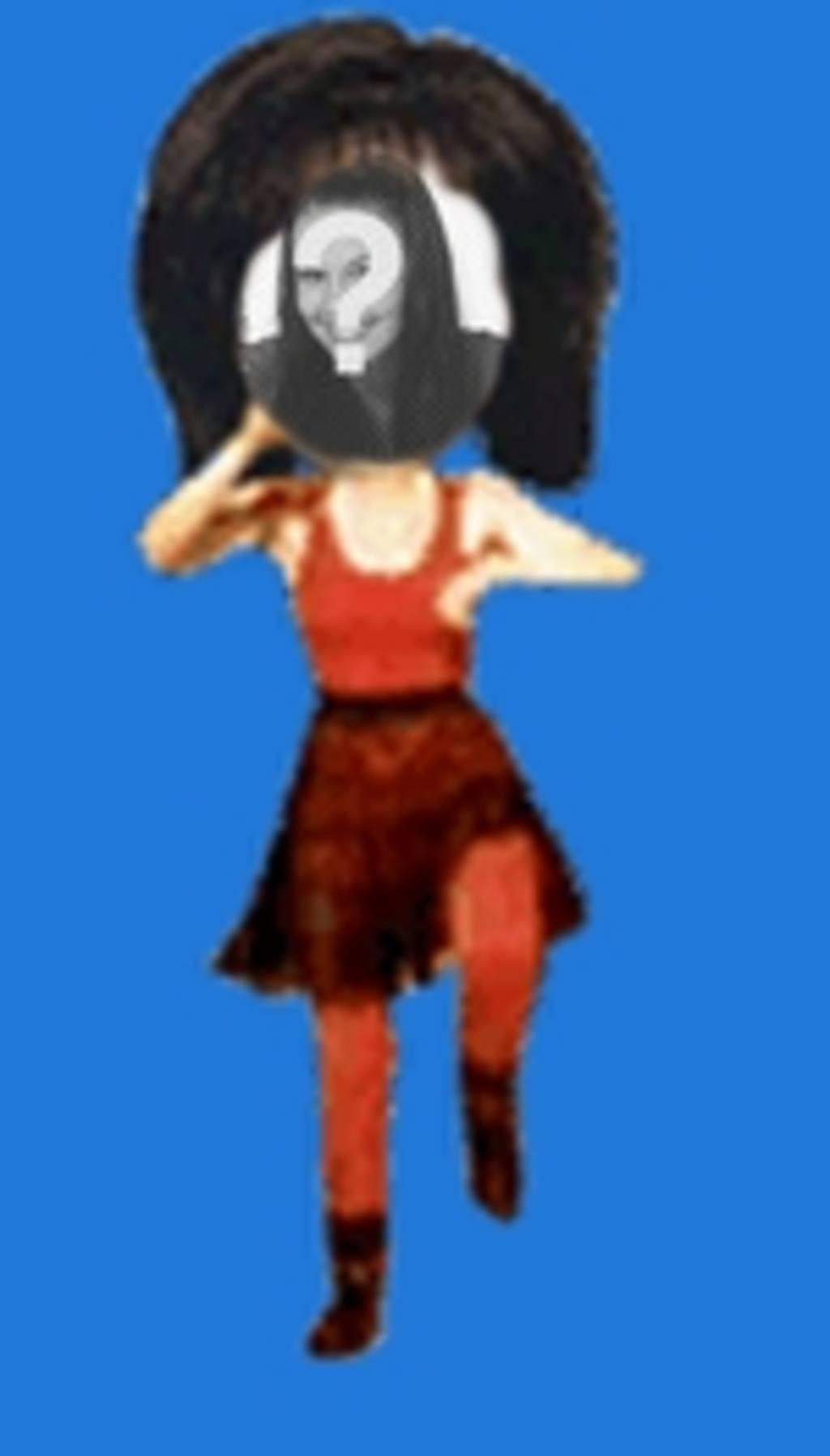 Ponha seu rosto no corpo de uma mulher no estilo vermelho dança desenho animado. Edite o gif animado a partir da página para baixar ou enviar e-mail