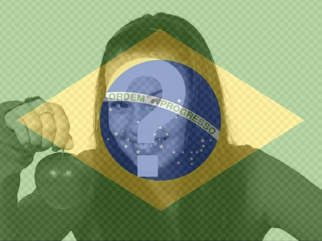 Colagem para colocar a bandeira do Brasil ao lado de sua foto online