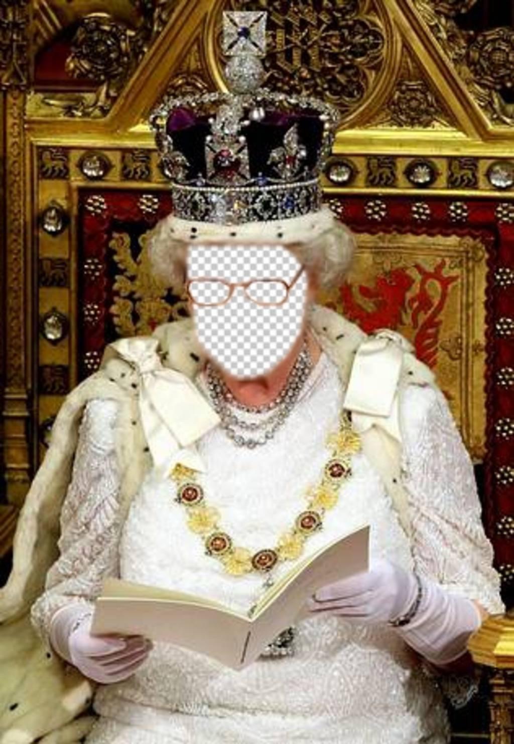 Neste fotomontagem você será a rainha da Inglaterra sentado em seu trono real