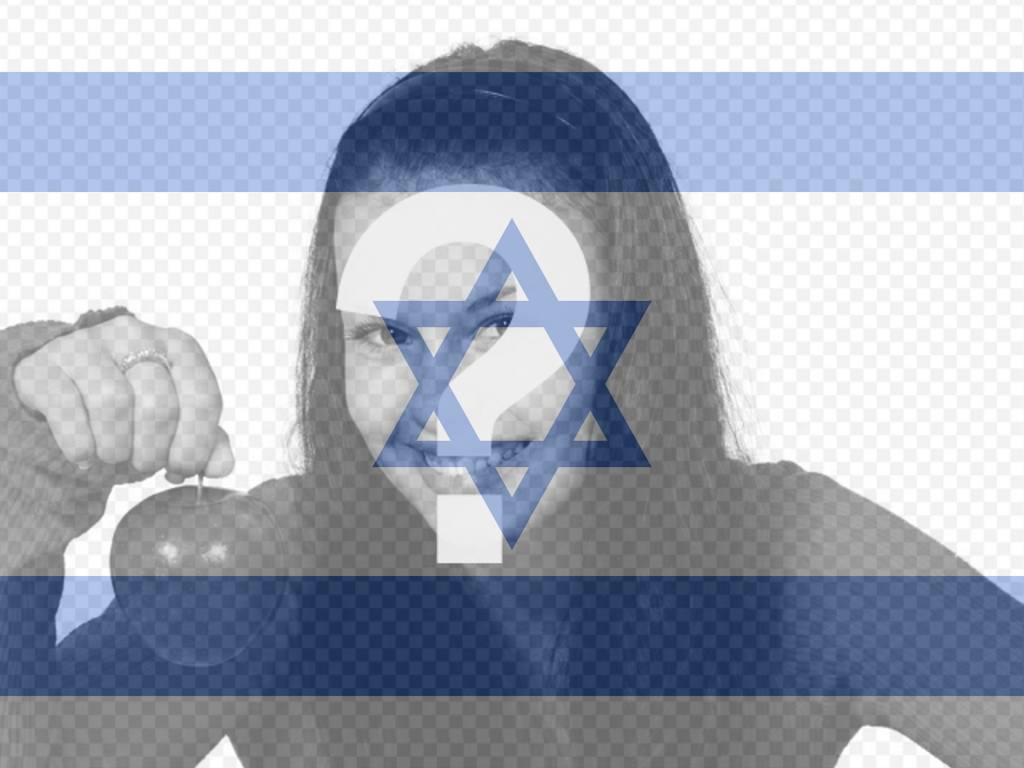 Colagem para colocar foto que você enviar, juntamente com a bandeira de Israel