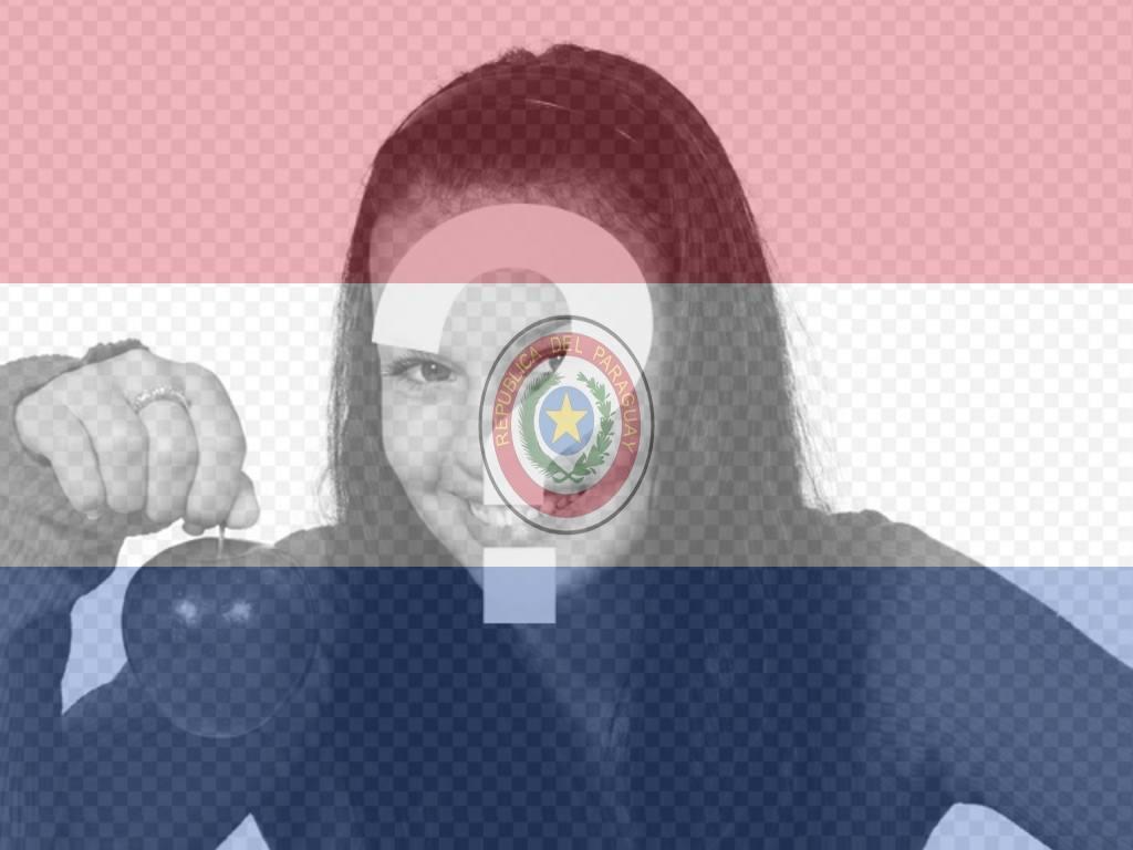 Fotomontagem online da bandeira de Paraguai com sua foto