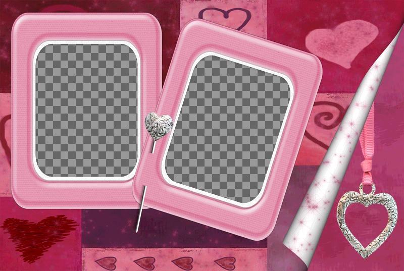 Dois frames assuntos de-rosa com um alfinete