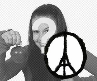 Desenho Simbolo Da Paz Com A Torre Eiffel No Meio Para Apoiar