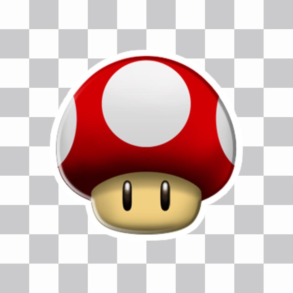 Etiqueta com cogumelo vermelho Mario Bros
