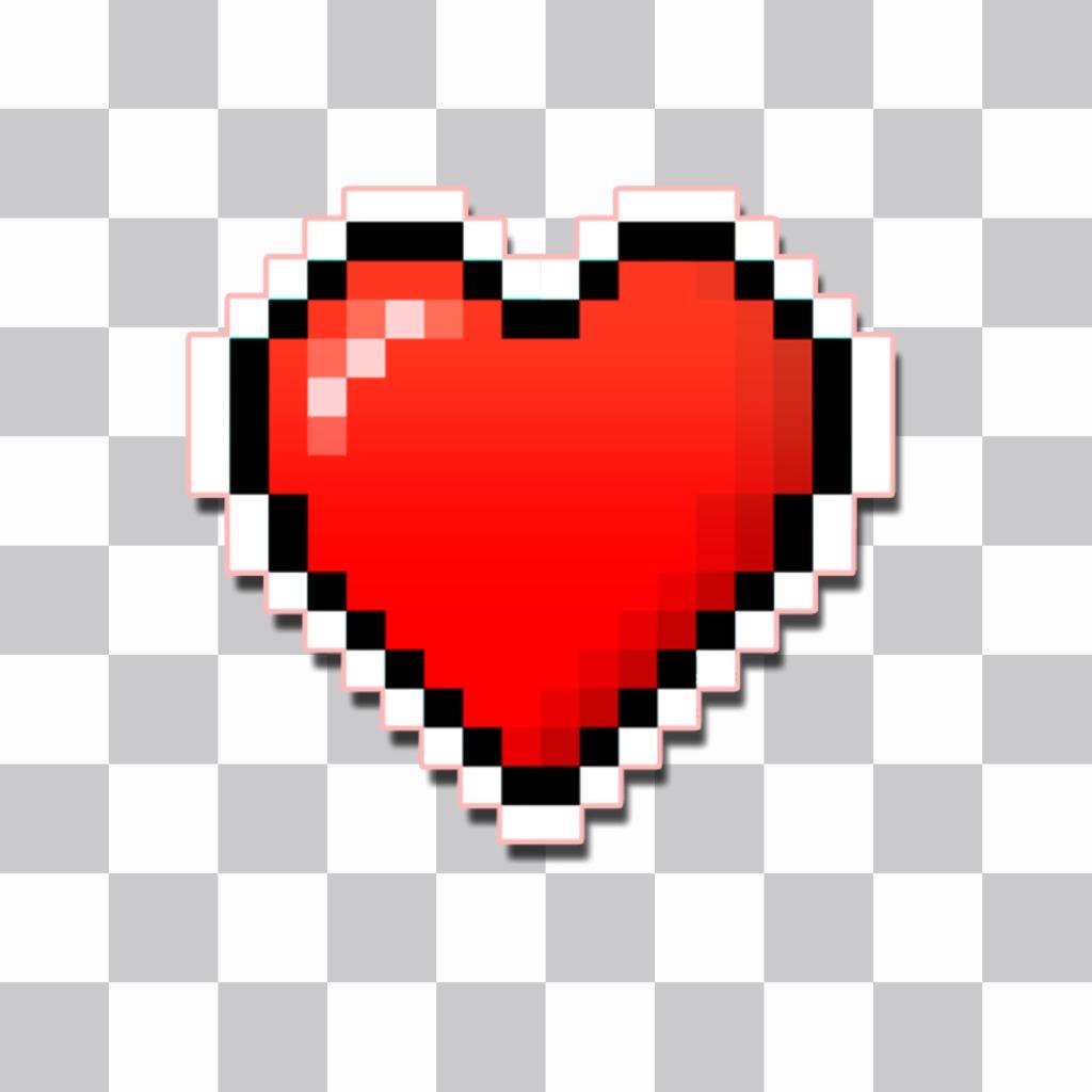 A etiqueta do coração pixelizada