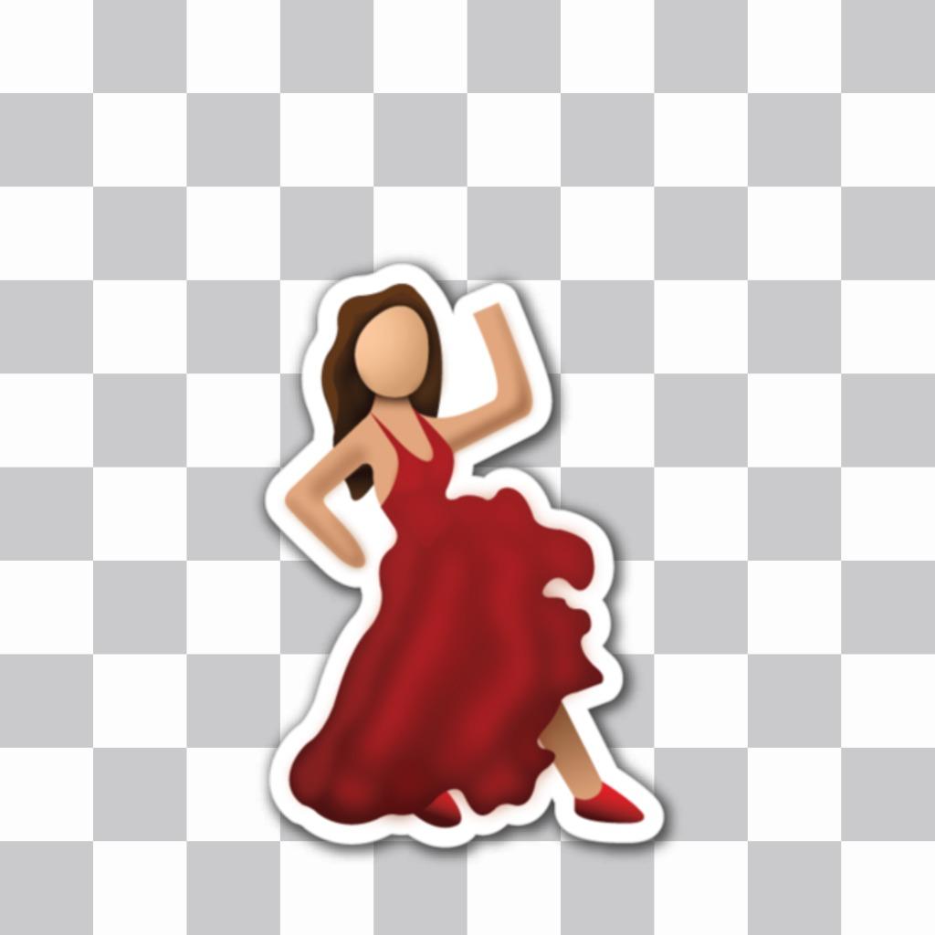 Emoticon de um flamenco dançando do whatsapp