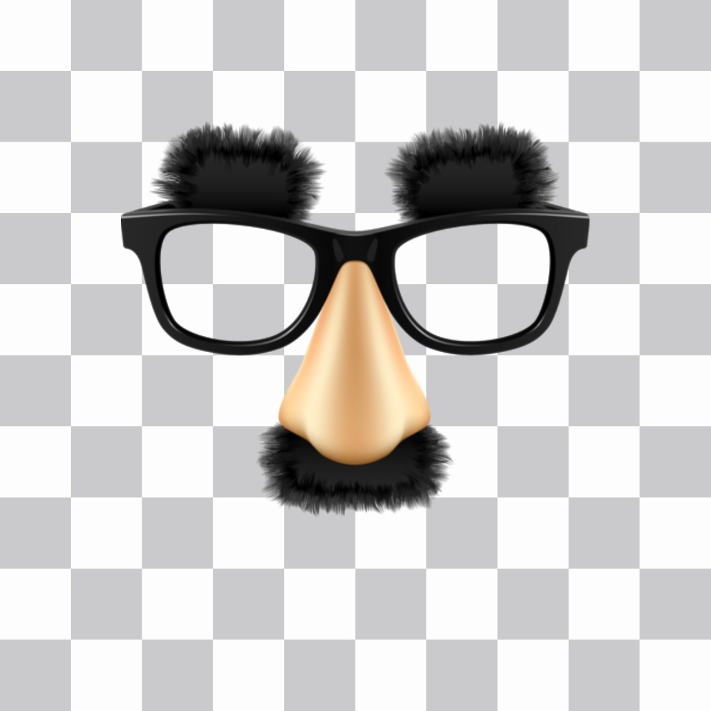 Etiqueta com vidros bigode e sobrancelhas de Groucho Marx, o grande comediante você pode inserir em suas fotos