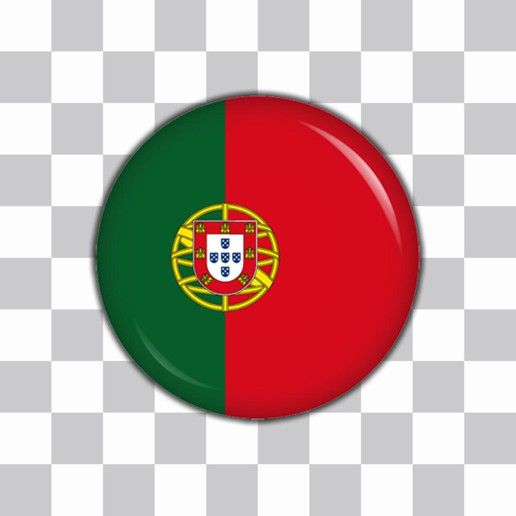 Botão com a bandeira de Portugal para adicionar em suas fotos com este efeito efeito
